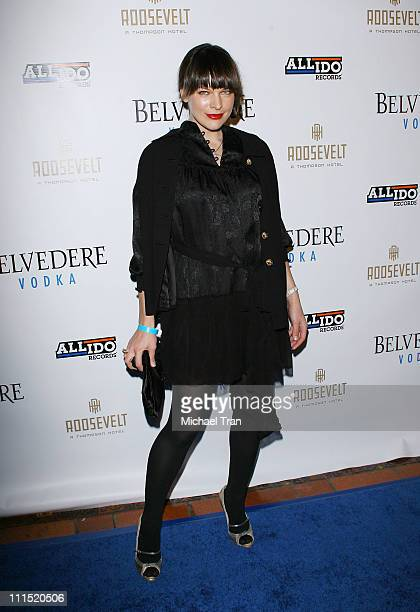 Actress Milla Jovovich arrives at Mark Ronson's PreGrammy Party held at the Hollywood Roosevelt Hotel on February 8 2008 in Hollywood California