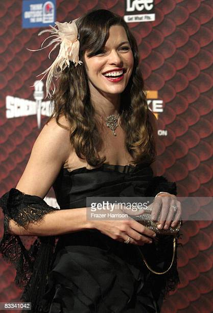 Actress Milla Jovovich arrives at Spike TV's 2008 Scream awards held at the Greek Theater on October 18 2008 in Los Angeles California