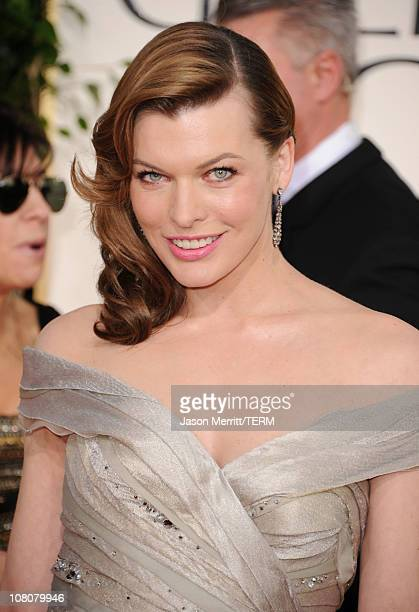 Actress Milla Jovovich arrives at the 68th Annual Golden Globe Awards held at The Beverly Hilton hotel on January 16 2011 in Beverly Hills California