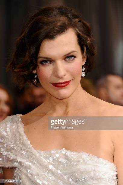 Actress Milla Jovovich arrives at the 84th Annual Academy Awards held at the Hollywood Highland Center on February 26 2012 in Hollywood California