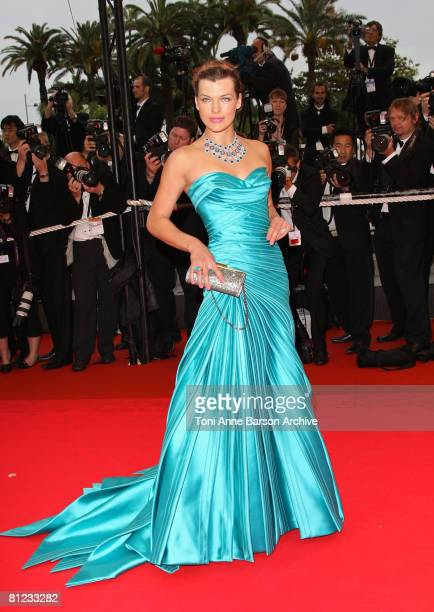 Actress Milla Jovovich arrives at the Palme d'Or Closing Ceremony at the Palais des Festivals during the 61st International Cannes Film Festival on...