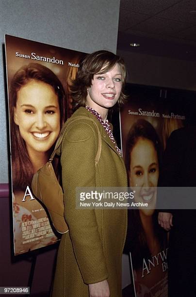 Actress Milla Jovovich at the premiere of the movie 'Anywhere But Here' at the Union Square Theater