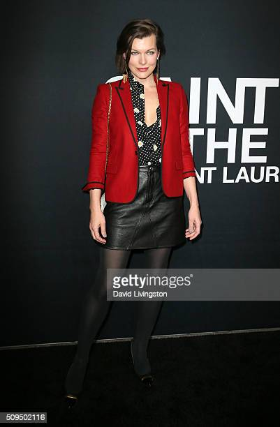 Actress Milla Jovovich attends Saint Laurent at Hollywood Palladium on February 10 2016 in Los Angeles California