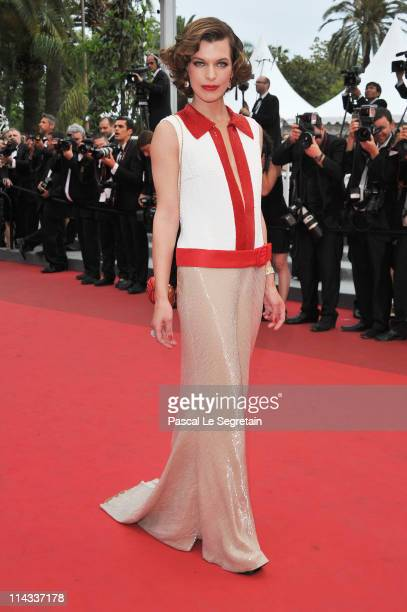 """Actress Milla Jovovich attends the """"La Conquete"""" premiere during 64th Annual Cannes Film Festival at Palais des Festivals on May 18, 2011 in Cannes,..."""