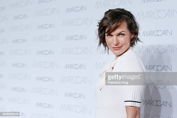 US actress Milla Jovovich attends the Marc Cain show spring/summer 2017 at CITY CUBE Panorama Bar on June 28 2016 in Berlin Germany