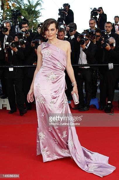 """Actress Milla Jovovich attends the """"On The Road"""" Premiere during the 65th Annual Cannes Film Festival at Palais des Festivals on May 23, 2012 in..."""