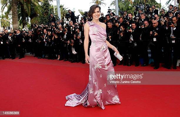 Actress Milla Jovovich attends the On The Road Premiere during the 65th Annual Cannes Film Festival at Palais des Festivals on May 23 2012 in Cannes...