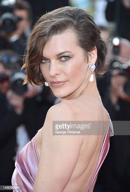 Actress Milla Jovovich attends the 'On The Road' Premiere during the 65th Annual Cannes Film Festival at Palais des Festivals on May 23 2012 in...