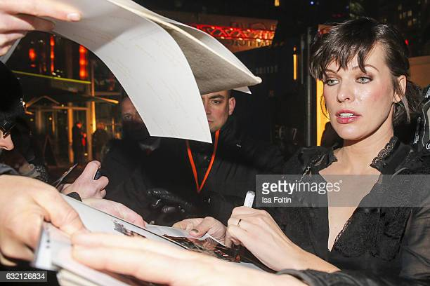 US actress Milla Jovovich attends the Social Movie Night At 'Resident Evil The Final Chapter' premiere at CineStar on January 19 2017 in Berlin...