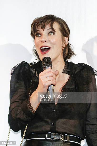 US actress Milla Jovovich during the stage presentation at the Social Movie Night At 'Resident Evil The Final Chapter' premiere at CineStar on...