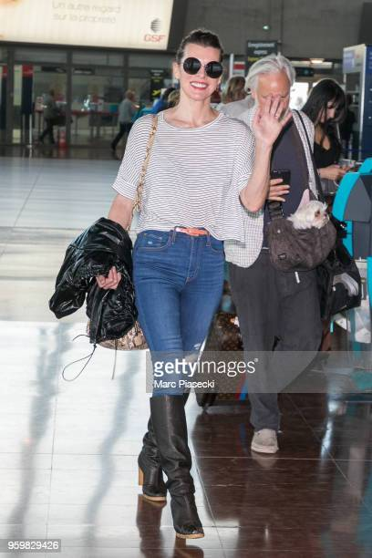 Actress Milla Jovovich is seen during the 71st annual Cannes Film Festival at Nice Airport on May 18 2018 in Nice France