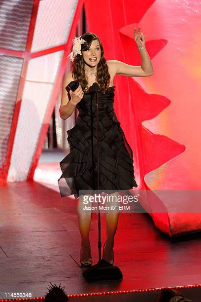 Actress Milla Jovovich onstage at SPIKE TV's 'Scream 2008' Awards held at the Greek Theatre on October 18 2008 in Los Angeles California