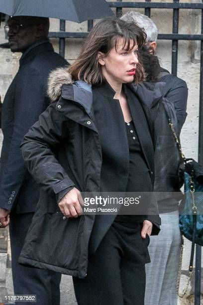 Actress Milla Jovovitch attends Peter Lindbergh's funeral at Eglise Saint-Sulpice on September 24, 2019 in Paris, France.