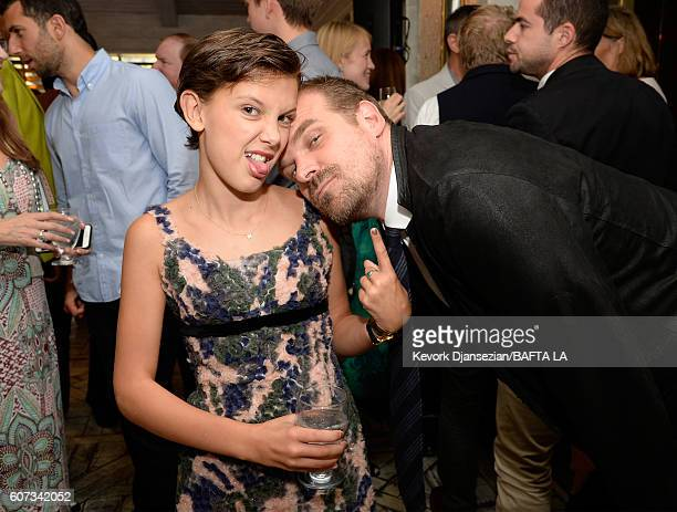 Actress Millie Bobby Brown and actor David Harbour attend the BBC America BAFTA Los Angeles TV Tea Party 2016 at The London Hotel on September 17...