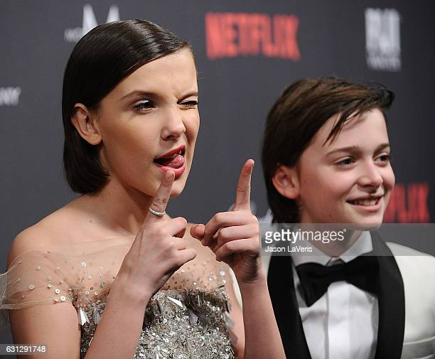 Actress Millie Bobby Brown and actor Noah Schnapp attend the 2017 Weinstein Company and Netflix Golden Globes after party on January 8, 2017 in Los...