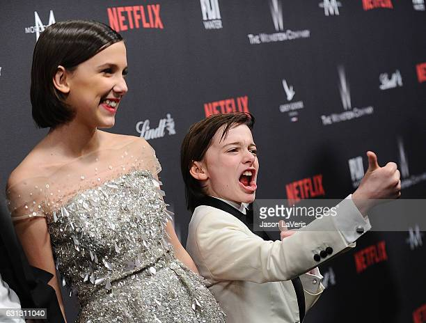 Actress Millie Bobby Brown and actor Noah Schnapp attend the 2017 Weinstein Company and Netflix Golden Globes after party on January 8 2017 in Los...