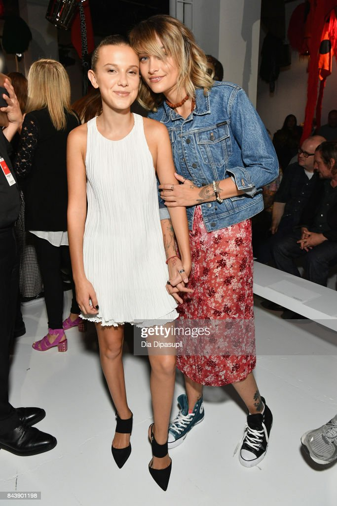 Actress Millie Bobby Brown and Paris Jackson attend the Calvin Klein Collection fashion show during New York Fashion Week on September 7, 2017 in New York City.