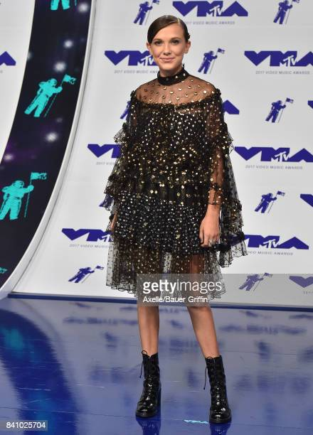 Actress Millie Bobby Brown arrives at the 2017 MTV Video Music Awards at The Forum on August 27 2017 in Inglewood California