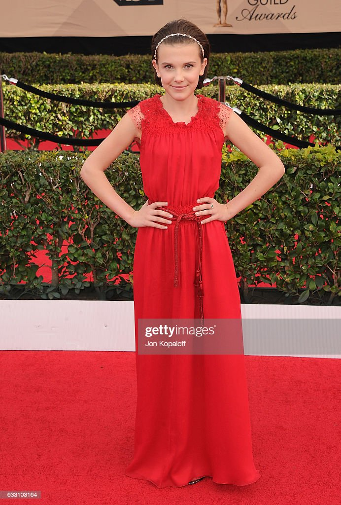 Actress Millie Bobby Brown arrives at the 23rd Annual Screen Actors Guild Awards at The Shrine Expo Hall on January 29, 2017 in Los Angeles, California.