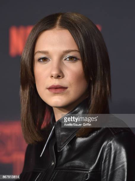Actress Millie Bobby Brown arrives at the premiere of Netflix's 'Stranger Things' Season 2 at Regency Bruin Theatre on October 26, 2017 in Los...