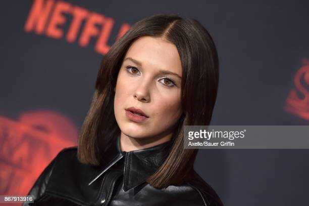 Actress Millie Bobby Brown arrives at the premiere of Netflix's 'Stranger Things' Season 2 at Regency Bruin Theatre on October 26 2017 in Los Angeles...