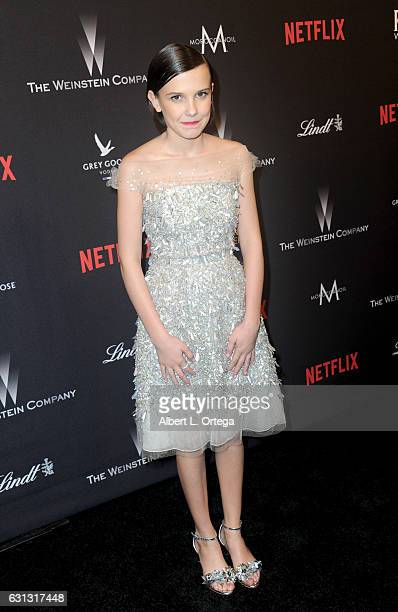 Actress Millie Bobby Brown arrives for the 2017 Weinstein Company And Netflix Golden Globes After Party on January 8 2017 in Los Angeles California