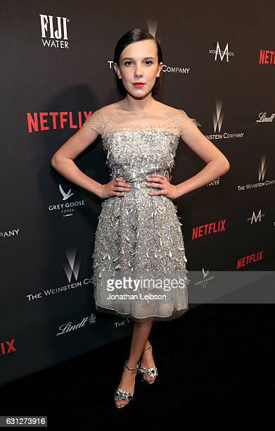 Actress Millie Bobby Brown at The Weinstein Company and Netflix Golden Globes Party presented with FIJI Water at The Beverly Hilton Hotel on January...