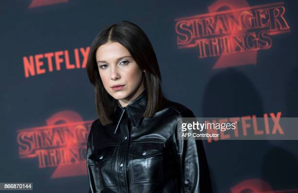 Actress Millie Bobby Brown attends Netflix's 'Stranger Things 2' premiere on October 26 in Westwood California / AFP PHOTO / VALERIE MACON