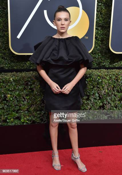Actress Millie Bobby Brown attends the 75th Annual Golden Globe Awards at The Beverly Hilton Hotel on January 7, 2018 in Beverly Hills, California.