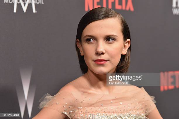 Actress Millie Bobby Brown attends The Weinstein Company and Netflix Golden Globe Party presented with FIJI Water Grey Goose Vodka Lindt Chocolate...