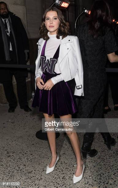 Actress Millie Bobby Brown is seen arriving at the Calvin Klein Collection during New York Fashion Week at New York Stock Exchange on February 13...