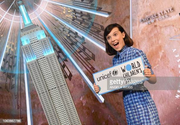 TOPSHOT Actress Millie Bobby Brown lights the Empire State Building in honor of UNICEF and World Children's Day at Empire State Building on November...