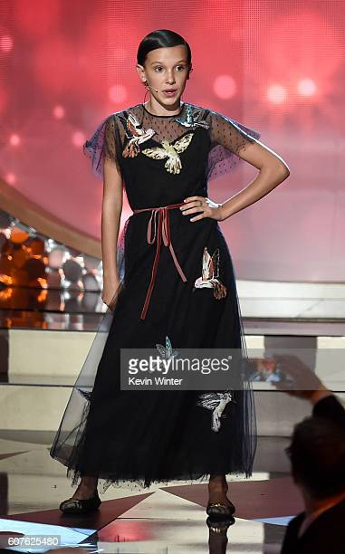 Actress Millie Bobby Brown performs onstage during the 68th Annual Primetime Emmy Awards at Microsoft Theater on September 18 2016 in Los Angeles...