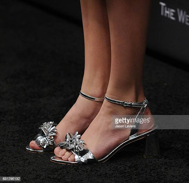 Actress Millie Bobby Brown shoe detail attends the 2017 Weinstein Company and Netflix Golden Globes after party on January 8 2017 in Los Angeles...