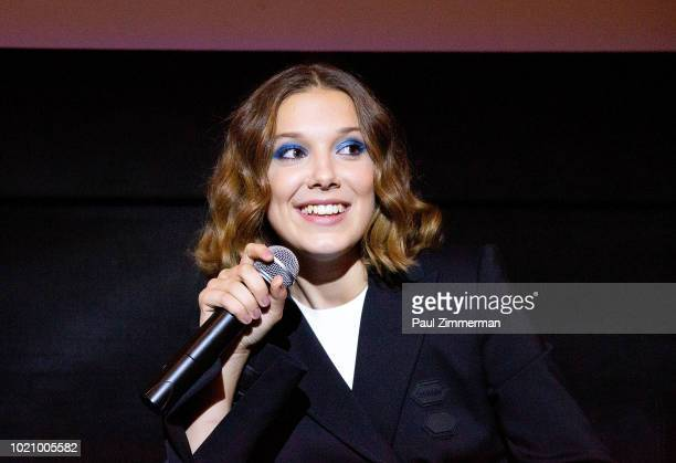 Actress Millie Bobby Brown speaks at 'Stranger Things Season 2' Screening at AMC Lincoln Square Theater on August 21 2018 in New York City