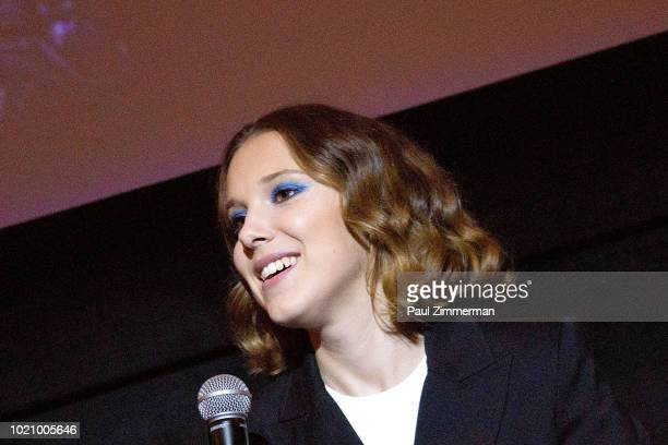 """Actress Millie Bobby Brown speaks at """"Stranger Things Season 2"""" Screening at AMC Lincoln Square Theater on August 21, 2018 in New York City."""