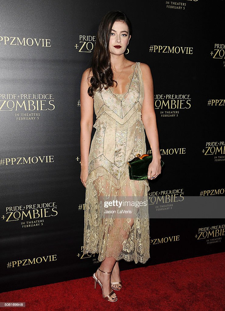 Actress Millie Brady attends the premiere of 'Pride and Prejudice and Zombies' at Harmony Gold Theatre on January 21, 2016 in Los Angeles, California.