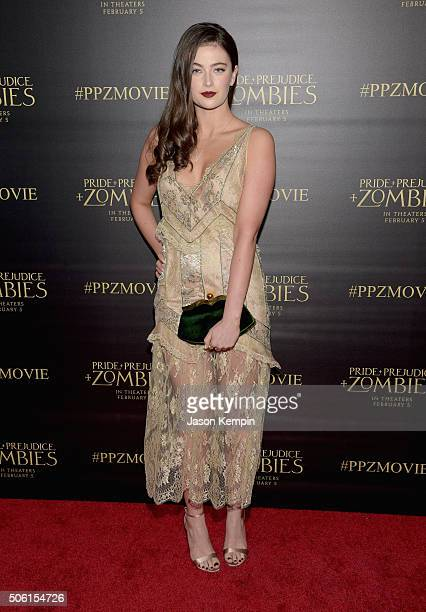Actress Millie Brady attends the premiere of Screen Gems' 'Pride and Prejudice and Zombies' on January 21 2016 in Los Angeles California
