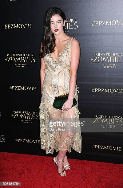 Actress Millie Brady attends the Premiere of Screen Gems' 'Pride And Prejudice And Zombies' at Harmony Gold Theatre on January 21 2016 in Los Angeles...