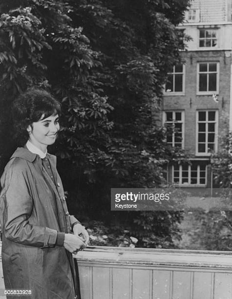 Actress Millie Perkins who played the title role in the film 'The Diary of Anne Frank' pictured outside 'Het Achterhuis' the house where Anne Frank...