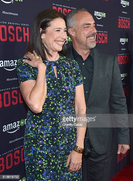 Actress Mimi Rogers and actor Titus Welliver attend Amazon Red Carpet Premiere Screening For Season Two Of Original Drama Series, 'Bosch' on March 3,...