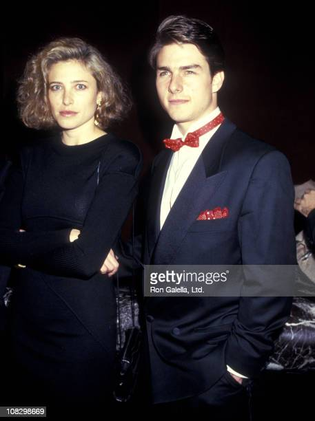 Actress Mimi Rogers and actor Tom Cruise attend the American Museum of the Moving Image Honors Elia Kazan on January 19 1987 at The WaldorfAstoria...