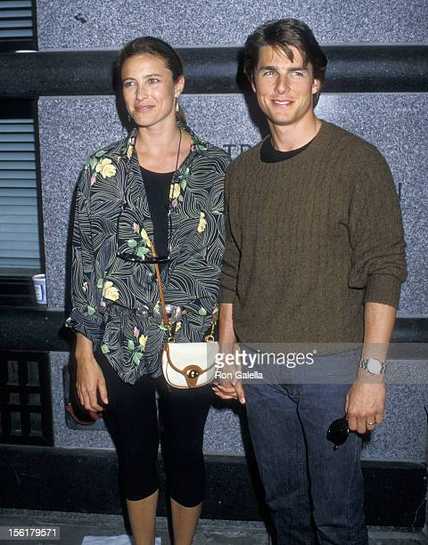 Actress Mimi Rogers and actor Tom Cruise on August 10 1988 pose for pictures after taping of 'The Late Show with David Letterman' outside the Ed...