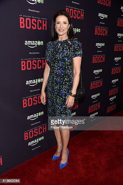 Actress Mimi Rogers arrives at the Premiere Of Amazon's 'Bosch' Season 2 at SilverScreen Theater at the Pacific Design Center on March 3 2016 in West...