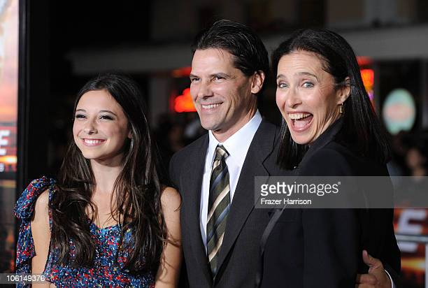 Actress Mimi Rogers husband Chris Ciaffa and daughter Lucy arrive at the premiere of Twentieth Century Fox's Unstoppable at Regency Village Theater...