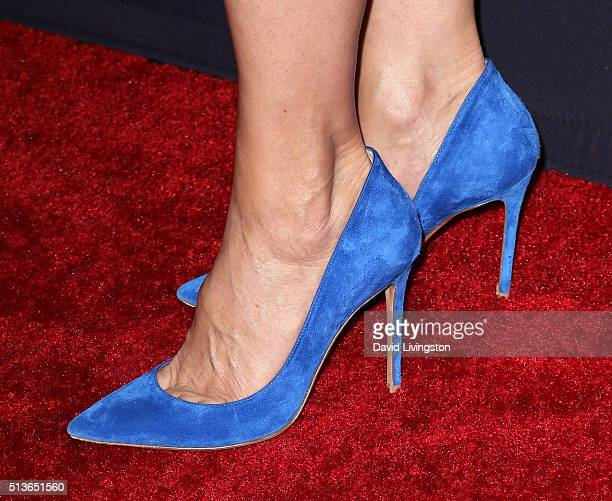 """Actress Mimi Rogers, shoe detail, attends the premiere of Amazon's """"Bosch"""" Season 2 at SilverScreen Theater at the Pacific Design Center on March 3,..."""