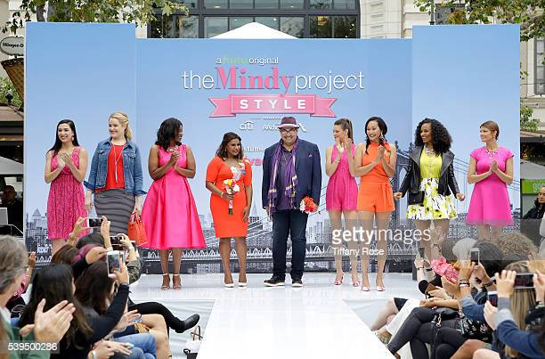 Actress Mindy Kaling and costume designer Salvador Perez appear on stage at 'The Mindy Project' Style presented by Citi/AAdvantage at The Grove on...