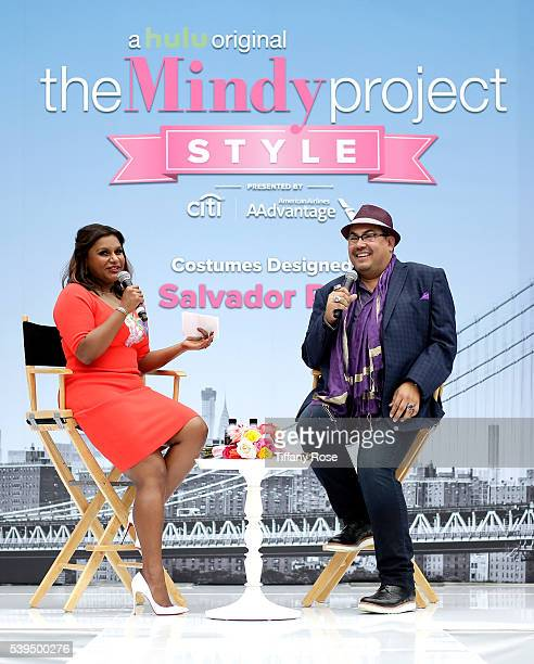 Actress Mindy Kaling and costume designer Salvador Perez speak on stage at 'The Mindy Project' Style presented by Citi/AAdvantage at The Grove on...