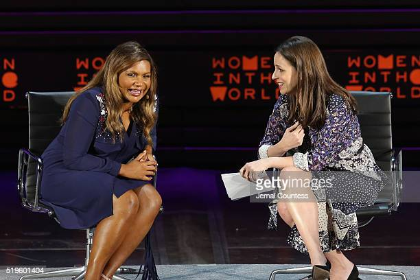Actress Mindy Kaling and television personality Alicia Menendez speak onstage at Mindy Kaling Why Not Me during Tina Brown's 7th Annual Women In The...