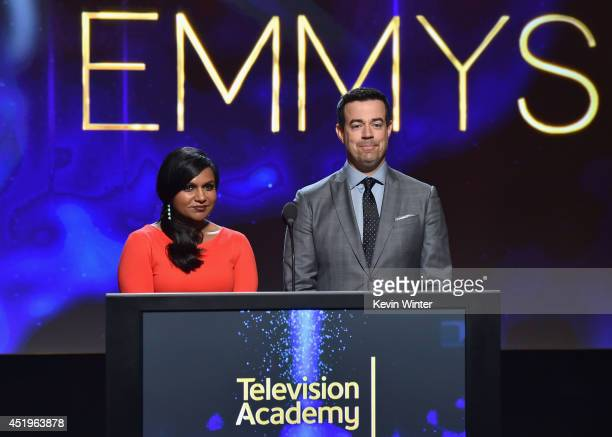 Actress Mindy Kaling and tv personality Carson Daly speak onstage at the 66th Primetime Emmy Awards Nominations at Leonard H Goldenson Theatre on...